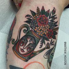 "illustratedgentleman: "" Fun watering can bouquet for Claire. Thanks #wateringcan #botanical #flowers #traditional #tattoo @sevendoorstattoo (at Seven Doors Tattoo) "" Matt Houston"