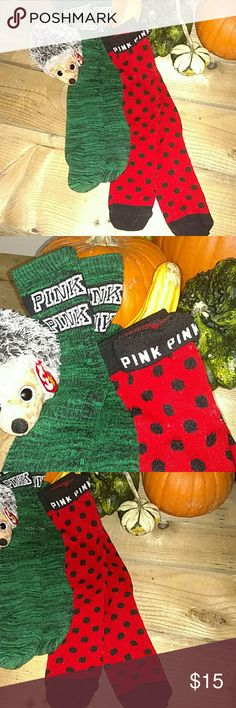 "VS PINK SOCKS! NEVER WORN!! Here are two pairs of socks from Victoria's Secret PINK! These have never been worn! I got a gift box for Christmas last year with three pairs inside. I have worn one pair (that's why they aren't for sale), but never wore these because I like thicker socks. My feet get cold easily due to my arthritis. I did wash these. These are in perfect condition and are super soft!! So cute this time of year! Great ""stay at home"" socks! PINK Victoria's Secret Accessories…"