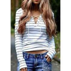 Lace up v-neck striped shirt Trendy Long sleeved t-shirt, striped pattern with lace up v-neck. L fits 8-10, XL fits 12-14 Tops Tees - Long Sleeve