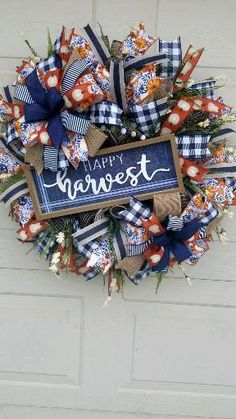Fall Deco Mesh, 4th Of July Wreath, Harvest, Wreaths, Awesome, Home Decor, Decoration Home, Door Wreaths, Room Decor