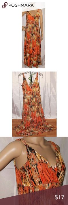 "Orange print full length sleeveless dress sz M Condition: gently used excellent condition!!   Special features: braided double straps*empire waistline  Closure: pull over  Care: machine washable  Color: orange multicolor  Lining: no  Sleeve: sleeveless  Size: M  Measurements: approx. bust size 35+""(could be slightly more when fully stretched) length 48""  Style: full length empire waist dress  Brand name: JUST LOVE  Pet smoke free home Just Love Dresses Maxi"