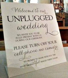 "How important do you think a sign like this is at your wedding? TRUST US your photographer will thank you. Your guests will enjoy being in the moment and NO cameras or tablets will block your photographers image!  Thanks to ""Celebrations by Amy Bacon"" (Greater Phoenix, AZ) for the photo."