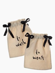 WASH & WEAR LINGERIE BAG SET Separate your clean and dirty undies with these cute drawstring bags. $25.00 Kate Spade FROM: 29 Holiday Gifts for Women Travelers