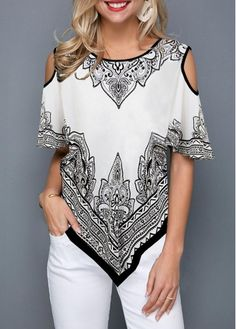 91f88a9d86b372 Cold Shoulder Asymmetric Hem Printed T Shirt