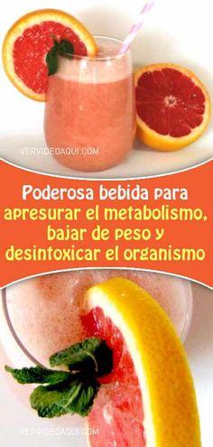 Poderosa bebida para apresurar el metabolismo, bajar de peso y desintoxicar el organismo Grapefruit, Cantaloupe, Smoothies, Food And Drink, Vegetables, Drinks, Health, Tips, Edc