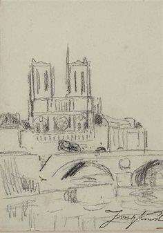 Artwork by Johan Barthold Jongkind, Vue de la cathédrale Notre-Dame de Paris, prise depuis les quais de Seine, Made of black chalk