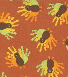 Autumn Inspirations Fabric-Turkey Handprints , , hi-res
