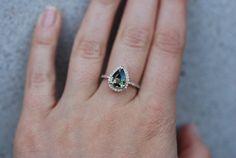 Engagement Ring. Green Tea Sapphire pear cut halo by EidelPrecious