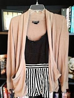 black and white stripes with a blush cardigan