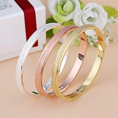 >>>Low Price GuaranteeFemale Frosted Love Bangle Hot Luxury Dust Cuff Bracelets