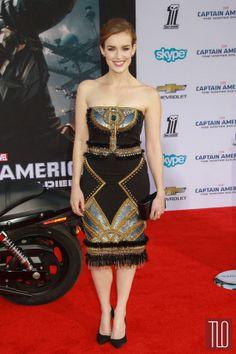 "Elizabeth Henstridge in Badgley Mischka at the ""Captain America: The Winter Soldier"" Premiere | Tom & Lorenzo Fabulous & Opinionated"
