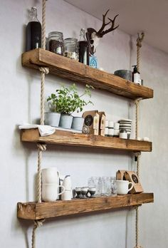 At home with Barefoot Living CEO Marcel Graf Westwing Magazine - Diy Gifts Diy Wooden Wall, Wooden Wall Shelves, Pallet Shelves, Rustic Shelves, Hanging Shelves, Wood Shelf, Wooden Decor, Handmade Home Decor, Diy Home Decor