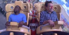 While Fallon got ... hit with a bug? | Kevin Hart Totally Loses It When Jimmy Fallon Makes Him Ride A Roller Coaster