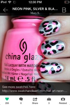 Nail Art: Neon Pink, Silver & Black Leopard Nails - Here's the leopard nail art I'm in love with! Sparkle Nail Designs, Black Nail Designs, Sparkle Nails, Pink Leopard Nails, Pink Nails, Hot Nails, Hair And Nails, Gorgeous Nails, Pretty Nails