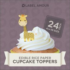 24 cupcake #toppers birthday #party cake decoration baby #giraffe,  View more on the LINK: http://www.zeppy.io/product/gb/2/170901582388/