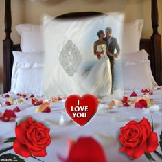 nefriti-Weddings pillow frame from Imikimi. You can put your own photo on this if you click on it.  #wedding #weddingnight #weddingphotos #iloveyou