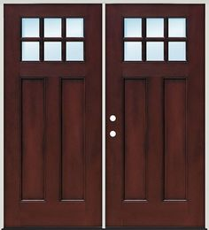 Door Clearance Center  Craftsman 6 Lite Pre Finished Mahogany Fiberglass Prehung  Double Door