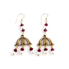 Red and White Art Deco Style Chandelier Earrings, Fashion Jewelry Accessories, Gifts, Beaded Earrings by ramonahall on Etsy