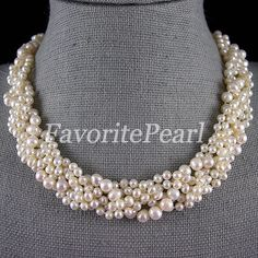 Wedding Pearl Necklace  16 Inches 5 Row 47mm by FavoriteJewellery, $32.00