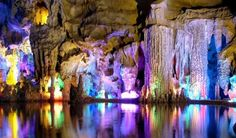 Reed Flute Cave located near Guilin; Guangxi (China) is an amazing marvel of nature. The popularity of the Reed Flute Cave all over the world is due to spectacu Guilin, Beautiful Places In The World, Places Around The World, Around The Worlds, Isla Vaadhoo, Places To Travel, Places To See, Travel Destinations, Formations Rocheuses