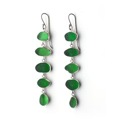 Five Drop Green Sea Glass Earrings by Tania Covo
