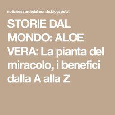 STORIE DAL MONDO: ALOE VERA: La pianta del miracolo, i benefici dalla A alla Z