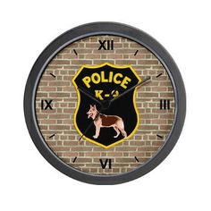 K9 Police Officers Wall Clock
