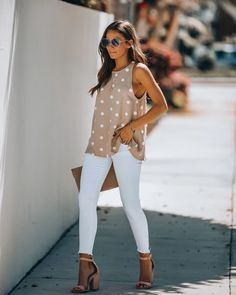 Healdsburg Pom Tank - Khaki - Business Outfits for Work Summer Business Casual Outfits, Casual Work Outfit Summer, Business Casual Jeans, Cute Work Outfits, Casual Summer Outfits For Women, Business Attire, Spring Outfits, Work Attire For Women, Business Clothes For Women
