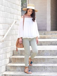Off-the-shoulder for summer is the way to go!