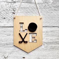 "Etch'd Designs on Instagram: ""Well I didn't ""love"" the hockey game yesterday, but I still love the Oilers! 💙🧡 . . . . #lovehockey #3Dwallflag #woodbanner #3Dbanner #yeg…"" Hockey Room, Hockey Games, 3d Wall, Kidsroom, Wooden Walls, Banners, Room Decor, Outdoor Decor, Instagram"