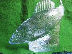 Sweden Kosta Paul Hoff glass herring figurine sculpture WWF animals fish blue #Kosta #PaulHoff