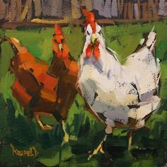 "Daily Paintworks - ""Chicken Friends"" - Original Fine Art for Sale - © Cathleen Rehfeld"