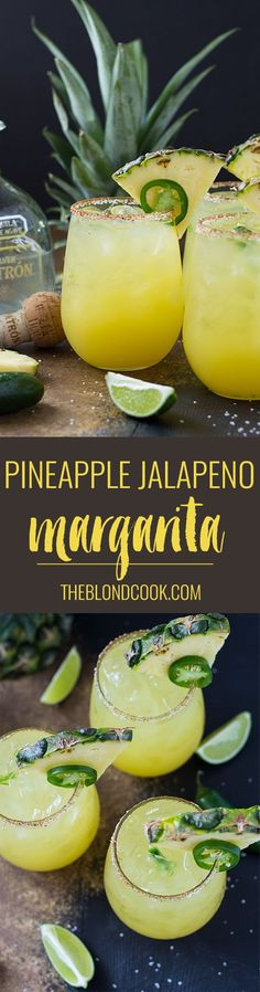 Pineapple Jalapeno Margarita | http://theblondcook.com Jalapeno Margarita, Margarita Bar, Pinapple Margarita, Mezcal Margarita, Skinny Margarita, Pineapple Cocktail, Pineapple Alcohol Drinks, Pineapple Bowl, Party Drinks Alcohol