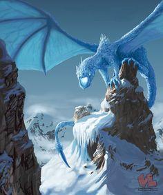 #Dragon Concept art Ice Dragon by Venishi