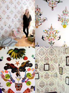 """THIS IS SOOOOO AWESOME!!! She creates intricate wall """"paper"""" designs using children stickers!!"""