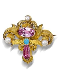 A gold, foiled topaz, turquoise and seed pearl parure, last quarter of the 19th century [Brooch]