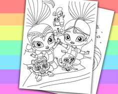 DIGITAL - INSTANT DOWNLOAD PRINTABLE COLORING PAGE This listing give you a series of 4 printable coloring pages of SHIMMER AND SHINE. You can use these coloring pages for your children's birthday party, or a small party in the classroom if you...