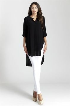 Chic-ready boyfriend high-low #tunic #top features a V-neckline, side slit and 3/4 Sleeve . Pair with leggings or skinny jeans and your favorite heels or boots to complete the look!     | Shop this product here: spree.to/w8y | Shop all of our products at http://spreesy.com/theyovettagroup    | Pinterest selling powered by Spreesy.com