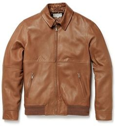 $1,869, Brown Leather Bomber Jacket: Melindagloss Leather Jacket. Sold by East Dane. Click for more info: http://lookastic.com/men/shop_items/188742/redirect