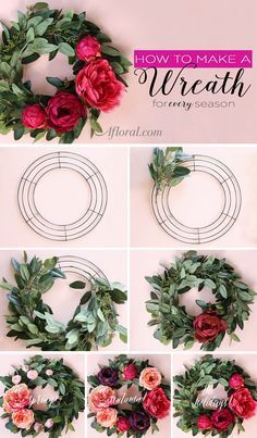 This wreath tutorial will show you how to use artificial eucalyptus and silk flowers to create a decoration you can update throughout the year. Silk Flower Wreaths, Silk Flowers, Paper Flowers, Floral Wreaths, Silk Peonies, Hydrangea Wreath, White Peonies, Dried Flowers, Wreath Crafts
