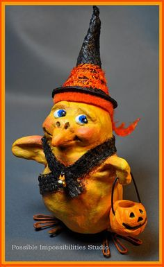 Trick or Treat Halloween Chickie Folk Art with by Possiblimstudio, $45.00