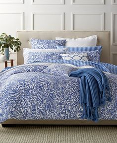 Charter Club Damask Designs Paisley Denim King Duvet Set, Only at Macy's - Bedding Collections - Bed & Bath - Macy's
