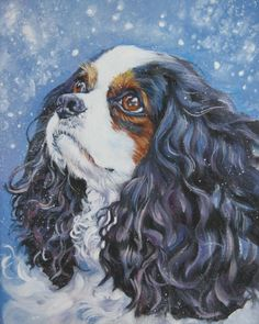 Cavalier King Charles Spaniel portrait CANVAS print of LA Shepard painting 8x10 dog art
