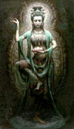 "Kwan Yin Goddess of Compassion/ Mercy WOW! original link here! kissingxcoffins: "" Kwan Yin Goddess of Compassion/ Mercy "" Tara Goddess, Goddess Art, Buddha Kunst, Buddha Art, Ancient Goddesses, Gods And Goddesses, Hindu Statues, Tibetan Art, Cyberpunk Art"
