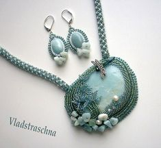 """""""Written on water"""" necklace and earring set by Vladstraschna"""