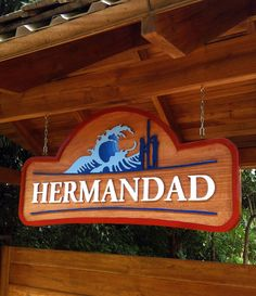 Logo design and carved and painted wood sign for Hermandad, Nosara Costa Rica Nosara, Painted Wood Signs, Painting On Wood, Costa Rica, Logo Design, Carving, Home Decor, Sorority, Decoration Home