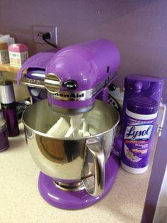 Purple Kitchen Aid mixer and ha ha purple Lysol. Kitchen Canister Sets, Kitchen Sets, Kitchen Aid Mixer, Kitchen Appliances, Kitchen Things, Kitchen Gadgets, Kitchen Decor, Purple Kitchen, Kitchen Colors