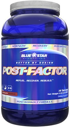 Blue Star Post-Factor: A TRUE Post Workout Formula https://blog.priceplow.com/supplement-news/blue-star-post-factor  It's got protein. It's got carbs. But then it's got LCLT and Tart Cherry Extract, with a delivery system for it all. This is what we're talking about. Blue Star Nutraceuticals is quietly being really really awesome lately.