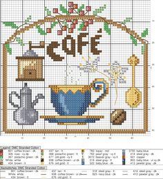 Taza de café en punto de cruz   Punto de cruz - Colección de patrones punto de cruz gratis.