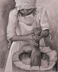 """Emily Christoff's Daily Paints: """"Fanny Grinding Corn""""  Figure, Charcoal, 8 x 10, $..."""